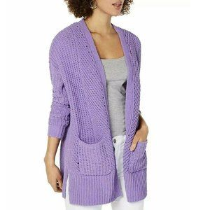 Style & Co Chenille Open Front Cardigan Lilac S